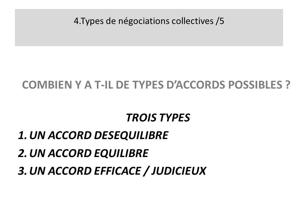 4.Types de négociations collectives /5 COMBIEN Y A T-IL DE TYPES DACCORDS POSSIBLES .