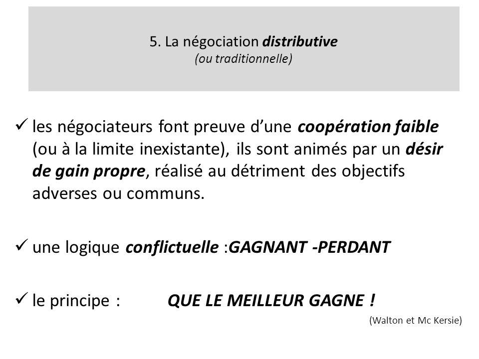 5. La négociation distributive (ou traditionnelle) les négociateurs font preuve dune coopération faible (ou à la limite inexistante), ils sont animés