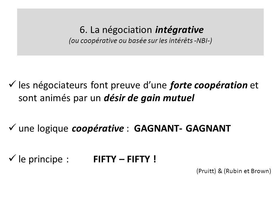 6. La négociation intégrative (ou coopérative ou basée sur les intérêts -NBI-) les négociateurs font preuve dune forte coopération et sont animés par