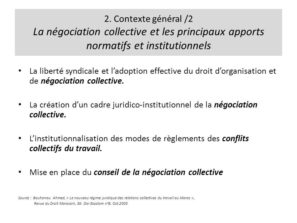 2. Contexte général /2 La négociation collective et les principaux apports normatifs et institutionnels La liberté syndicale et ladoption effective du
