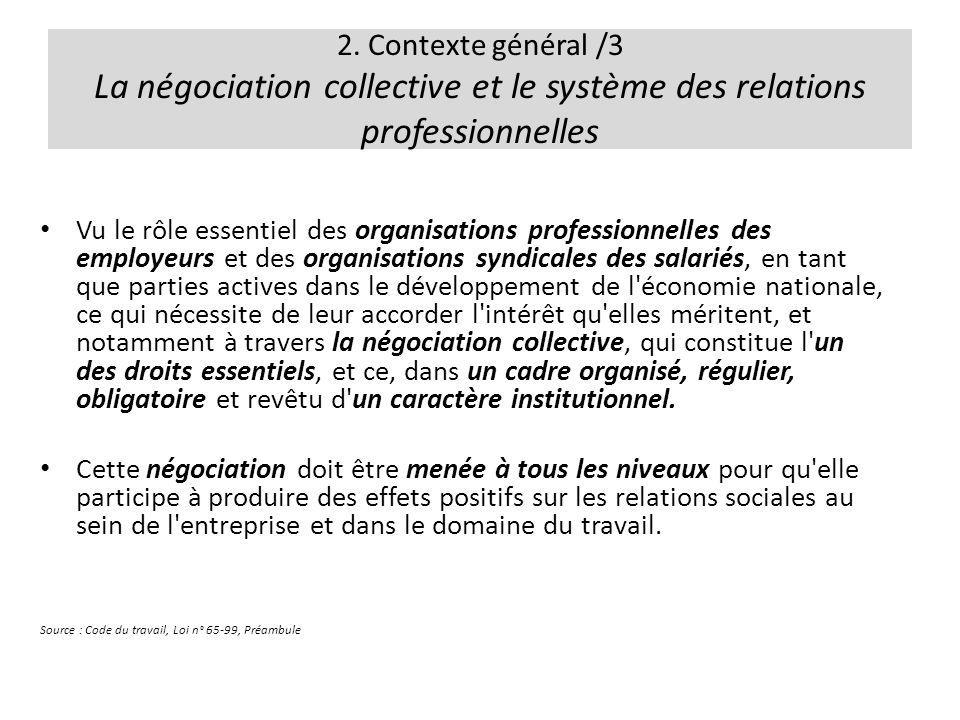 2. Contexte général /3 La négociation collective et le système des relations professionnelles Vu le rôle essentiel des organisations professionnelles