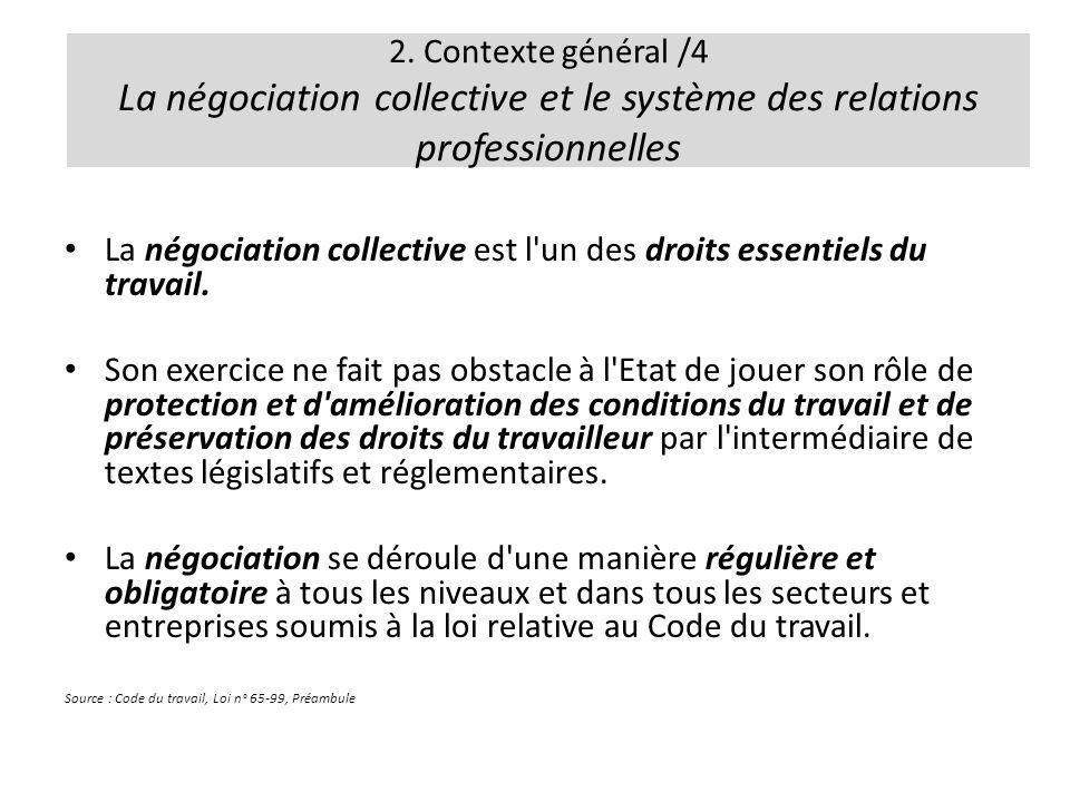 2. Contexte général /4 La négociation collective et le système des relations professionnelles La négociation collective est l'un des droits essentiels