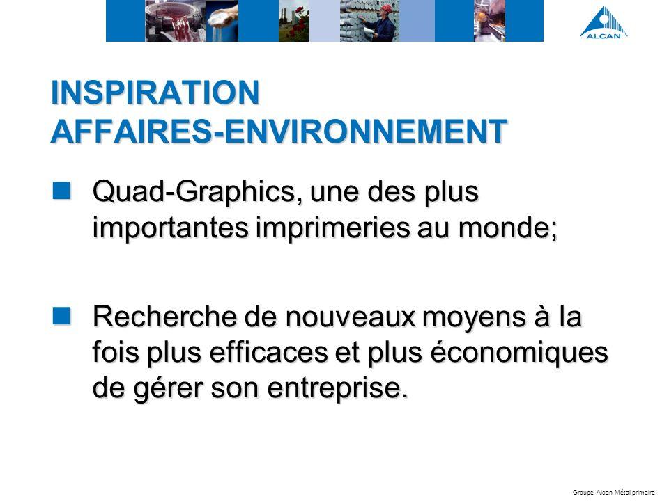 Groupe Alcan Métal primaire INSPIRATION AFFAIRES-ENVIRONNEMENT Quad-Graphics, une des plus importantes imprimeries au monde; Quad-Graphics, une des plus importantes imprimeries au monde; Recherche de nouveaux moyens à la fois plus efficaces et plus économiques de gérer son entreprise.