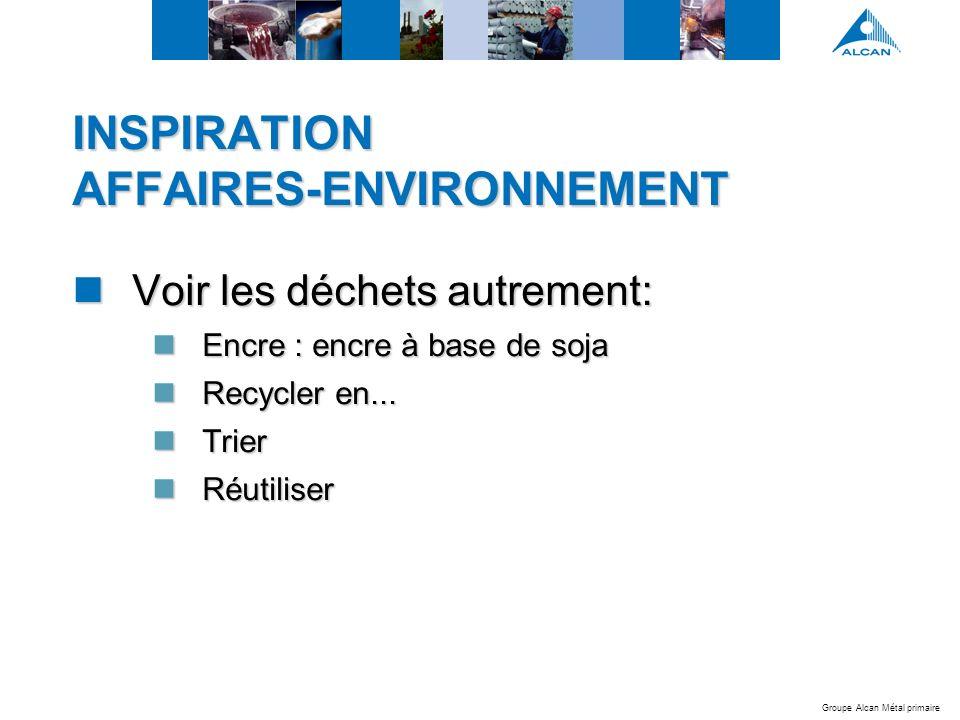 Groupe Alcan Métal primaire INSPIRATION AFFAIRES-ENVIRONNEMENT Voir les déchets autrement: Voir les déchets autrement: Encre : encre à base de soja Encre : encre à base de soja Recycler en...