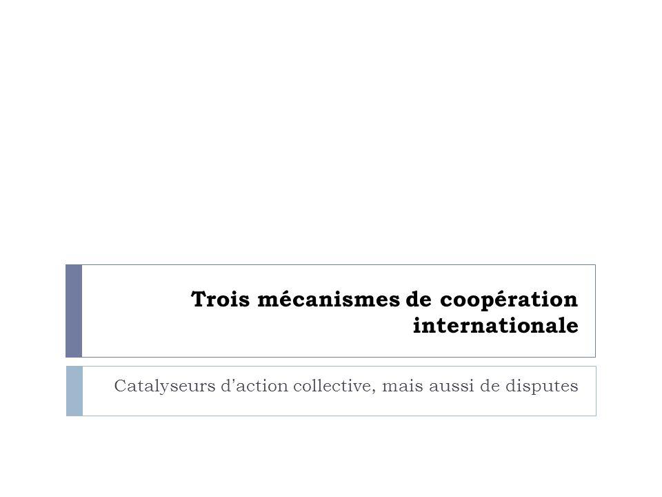 COP 16/MOP 6 – Cancun 2010 Le texte reprend surtout les points-clés de laccord de Copenhague: Objectif de 2°C, mais sans objectif en matière démissions Fonds Vert: 100 milliards USD / an à partir de 2020 Mais pas daccord sur la manière dont largent sera réuni ou distribué Avancées sur les forêts, sur MRV, sur le transfert de technologies Malgré les avancées timides, Cancun a peut-être sauvé le processus multilatéral de négociations.