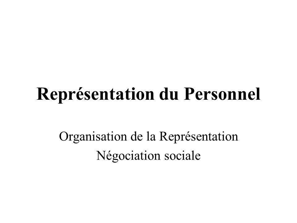 Représentation du Personnel Organisation de la Représentation Négociation sociale