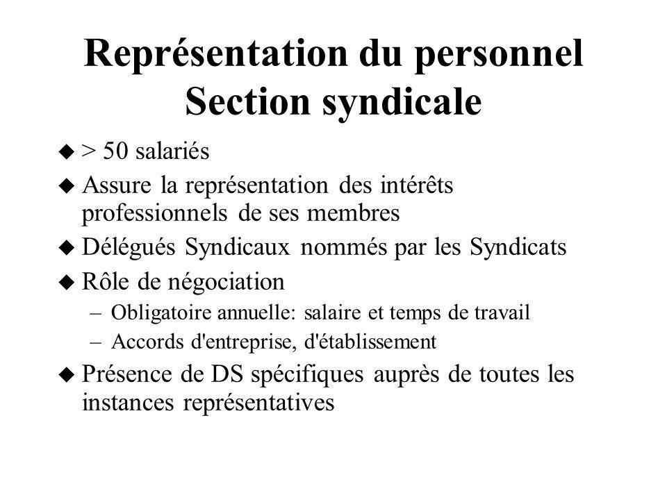 Représentation du personnel Section syndicale > 50 salariés Assure la représentation des intérêts professionnels de ses membres Délégués Syndicaux nom