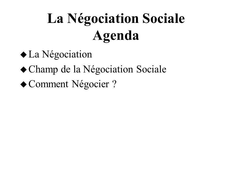 La Négociation Sociale Agenda La Négociation Champ de la Négociation Sociale Comment Négocier ?