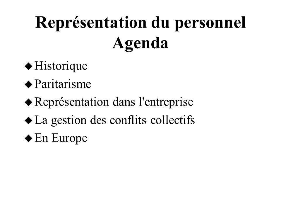 Représentation du personnel Agenda Historique Paritarisme Représentation dans l'entreprise La gestion des conflits collectifs En Europe