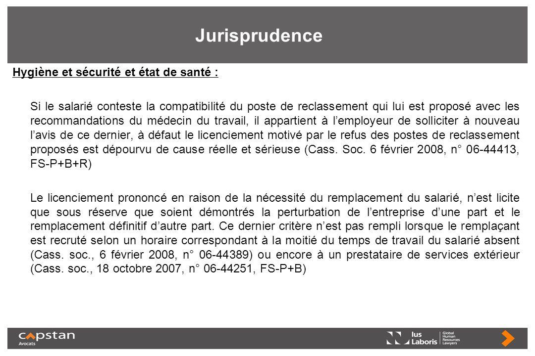 Jurisprudence Hygiène et sécurité et état de santé : Si le salarié conteste la compatibilité du poste de reclassement qui lui est proposé avec les rec