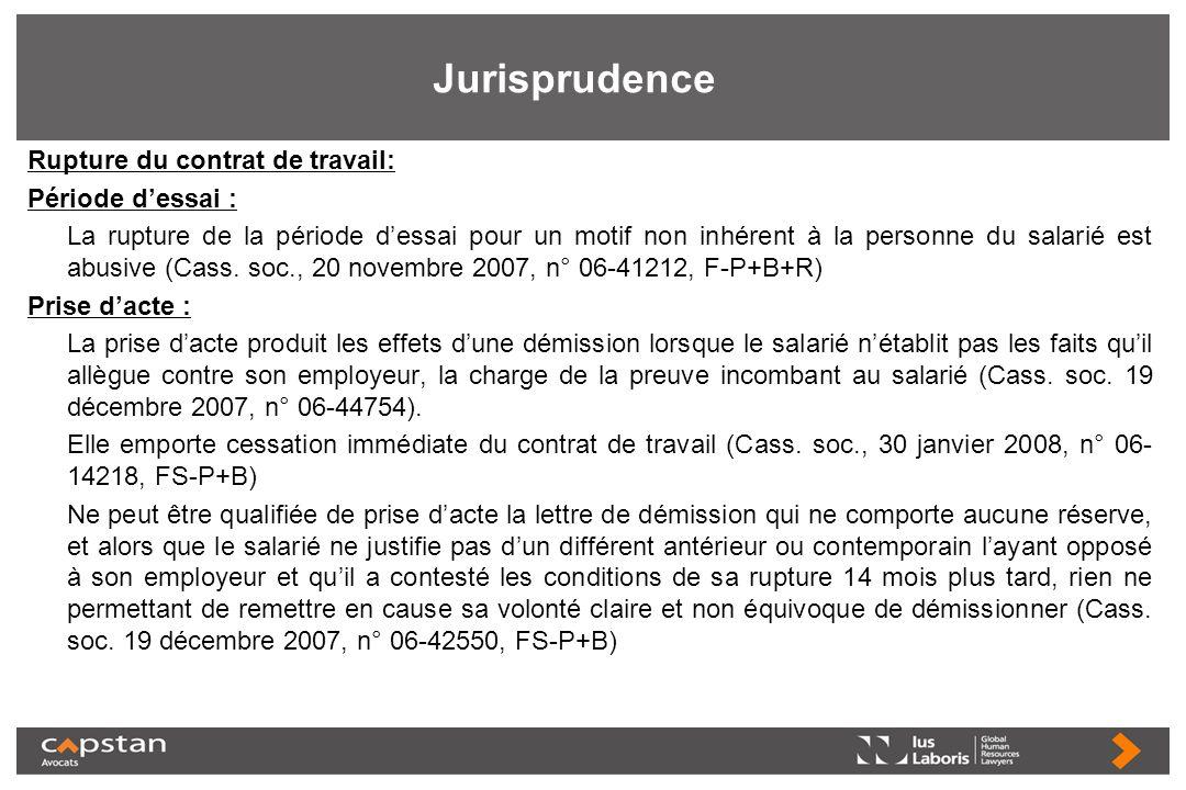 Jurisprudence Rupture du contrat de travail: Période dessai : La rupture de la période dessai pour un motif non inhérent à la personne du salarié est