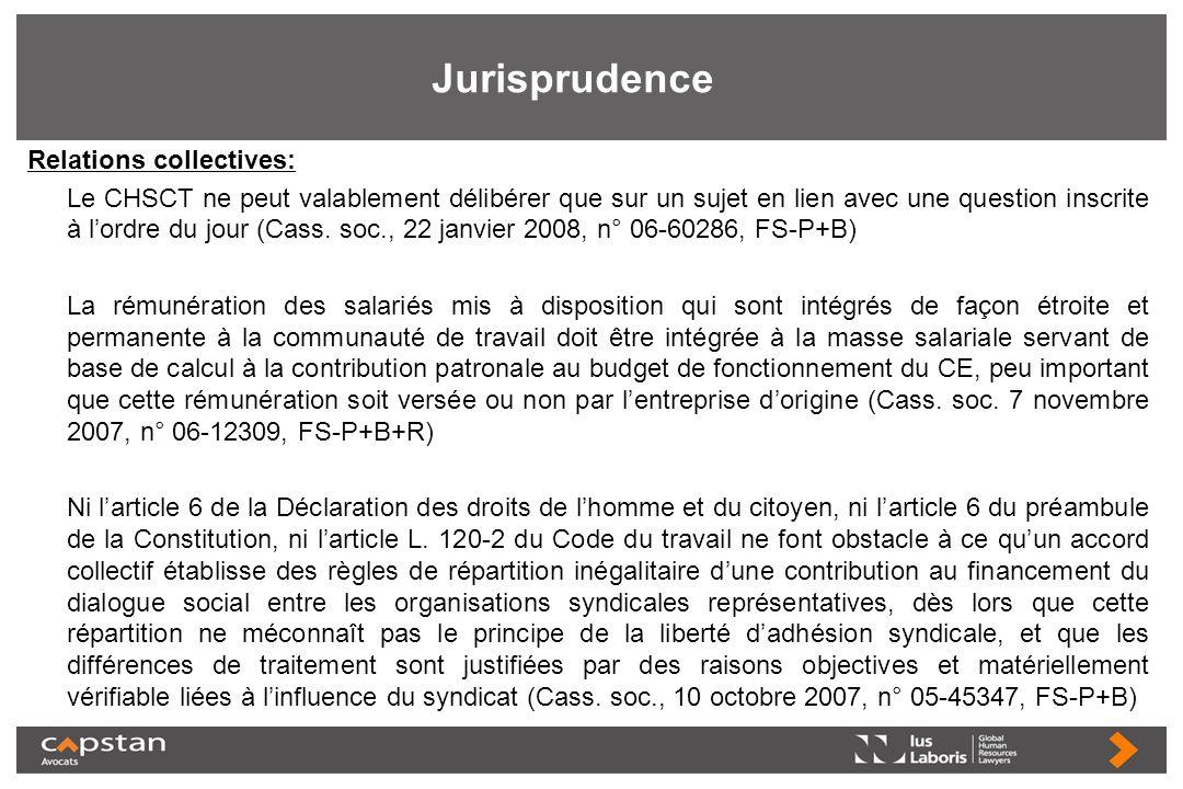 Jurisprudence Relations collectives: Le CHSCT ne peut valablement délibérer que sur un sujet en lien avec une question inscrite à lordre du jour (Cass