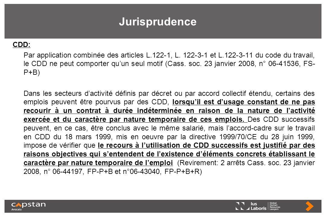 Jurisprudence CDD: Par application combinée des articles L.122 1, L. 122 3 1 et L.122 3 11 du code du travail, le CDD ne peut comporter quun seul moti