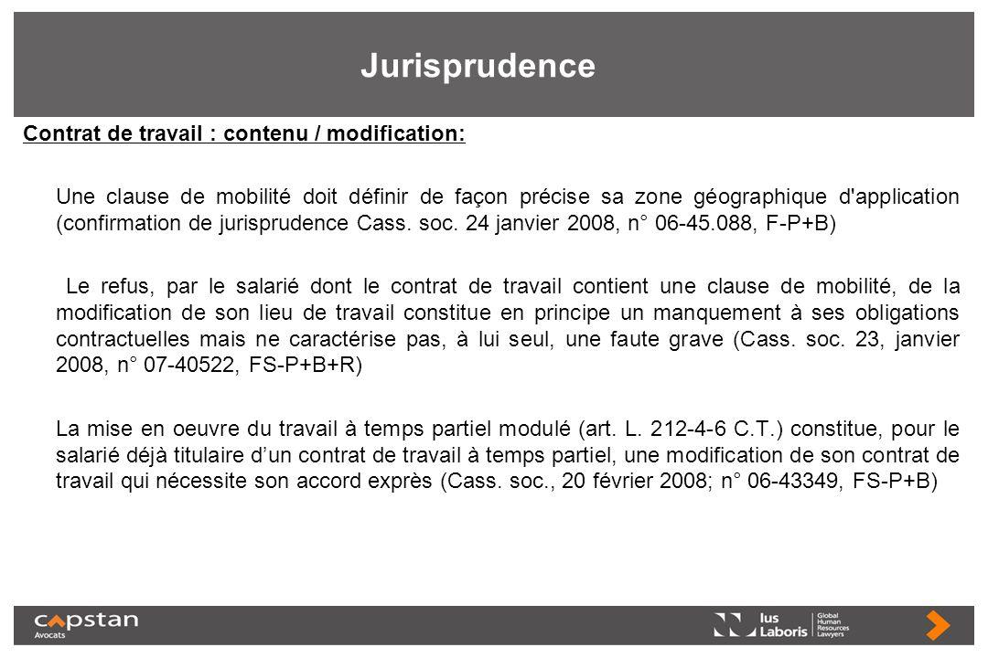 Jurisprudence Contrat de travail : contenu / modification: Une clause de mobilité doit définir de façon précise sa zone géographique d'application (co