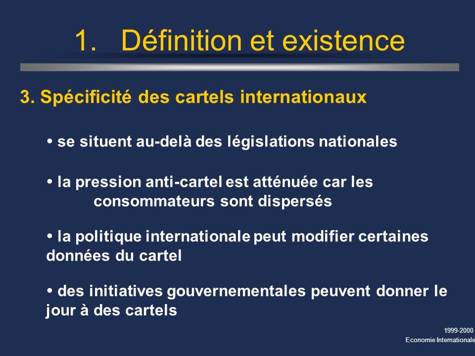 1999-2000 Economie Internationale 1.Définition et existence 3.