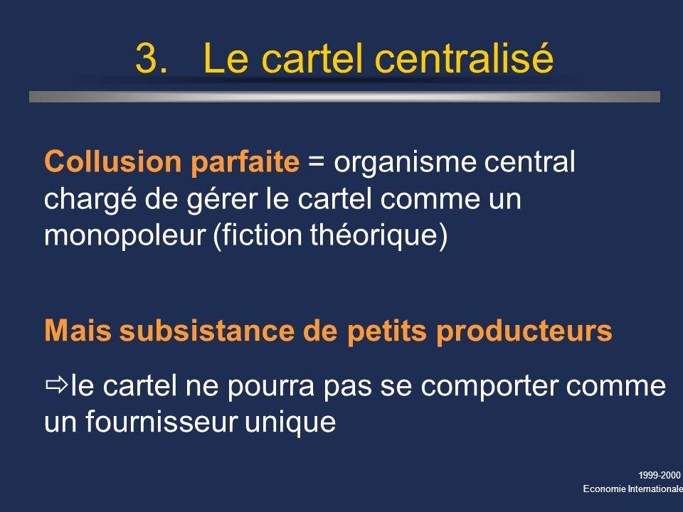 1999-2000 Economie Internationale 3.Le cartel centralisé Collusion parfaite = organisme central chargé de gérer le cartel comme un monopoleur (fiction théorique) Mais subsistance de petits producteurs le cartel ne pourra pas se comporter comme un fournisseur unique