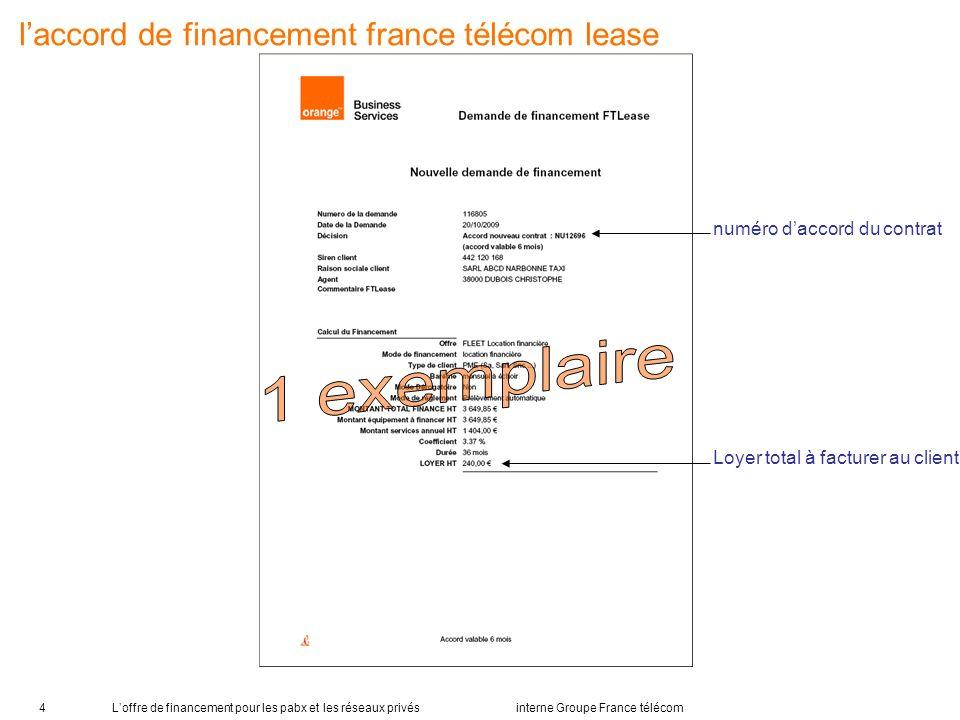 Loffre de financement pour les pabx et les réseaux privés interne Groupe France télécom4 laccord de financement france télécom lease numéro daccord du contrat Loyer total à facturer au client