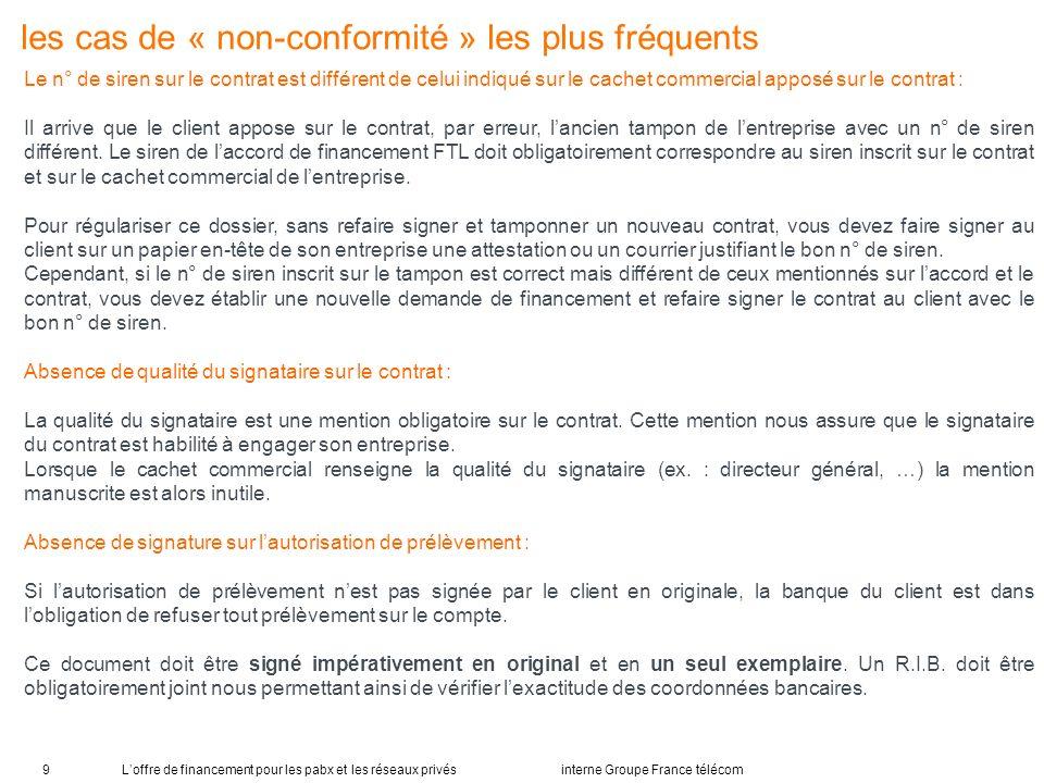Loffre de financement pour les pabx et les réseaux privés interne Groupe France télécom9 les cas de « non-conformité » les plus fréquents Le n° de sir