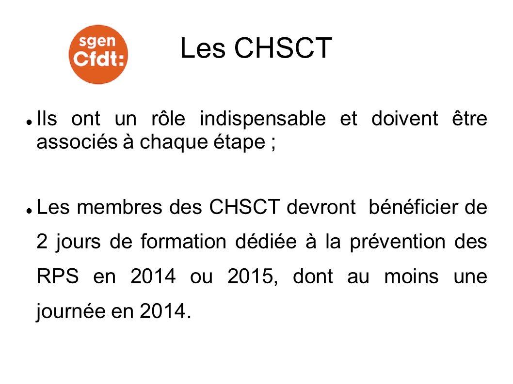 Ils ont un rôle indispensable et doivent être associés à chaque étape ; Les membres des CHSCT devront bénéficier de 2 jours de formation dédiée à la p