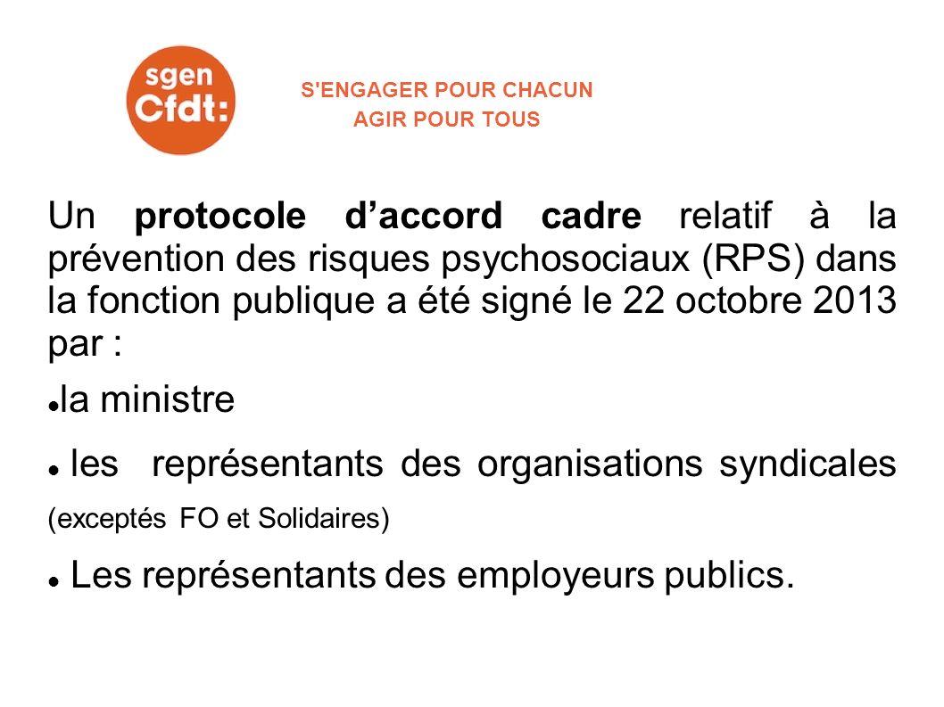 Un protocole daccord cadre relatif à la prévention des risques psychosociaux (RPS) dans la fonction publique a été signé le 22 octobre 2013 par : la m