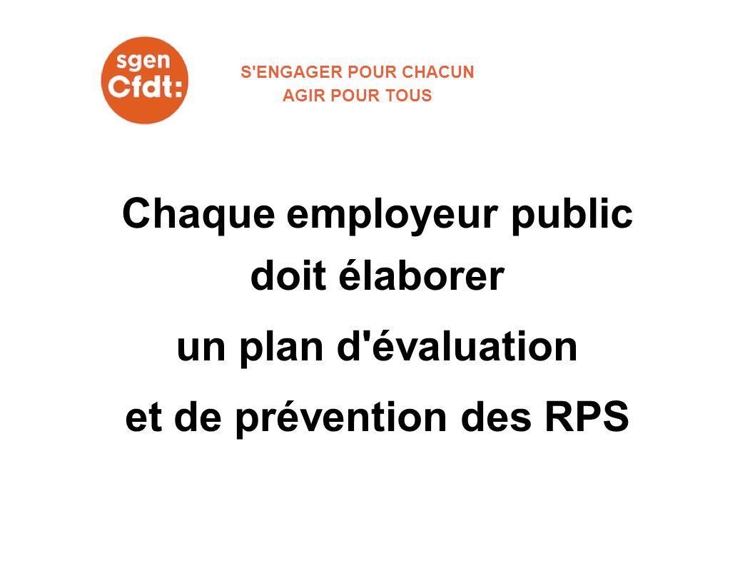 Chaque employeur public doit élaborer un plan d'évaluation et de prévention des RPS S'ENGAGER POUR CHACUN AGIR POUR TOUS