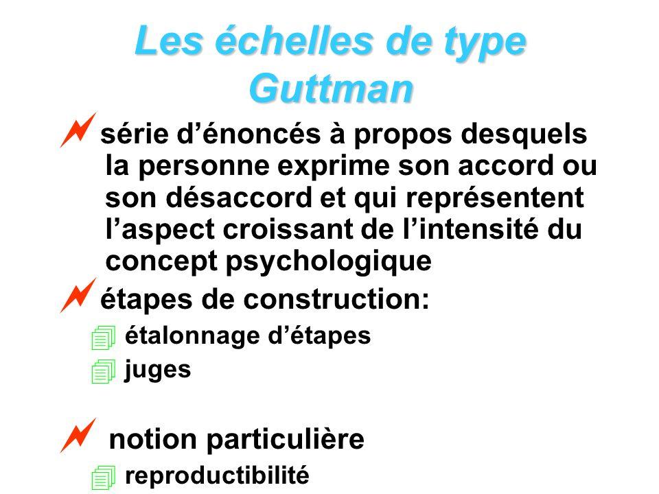 Les échelles de type Guttman série dénoncés à propos desquels la personne exprime son accord ou son désaccord et qui représentent laspect croissant de