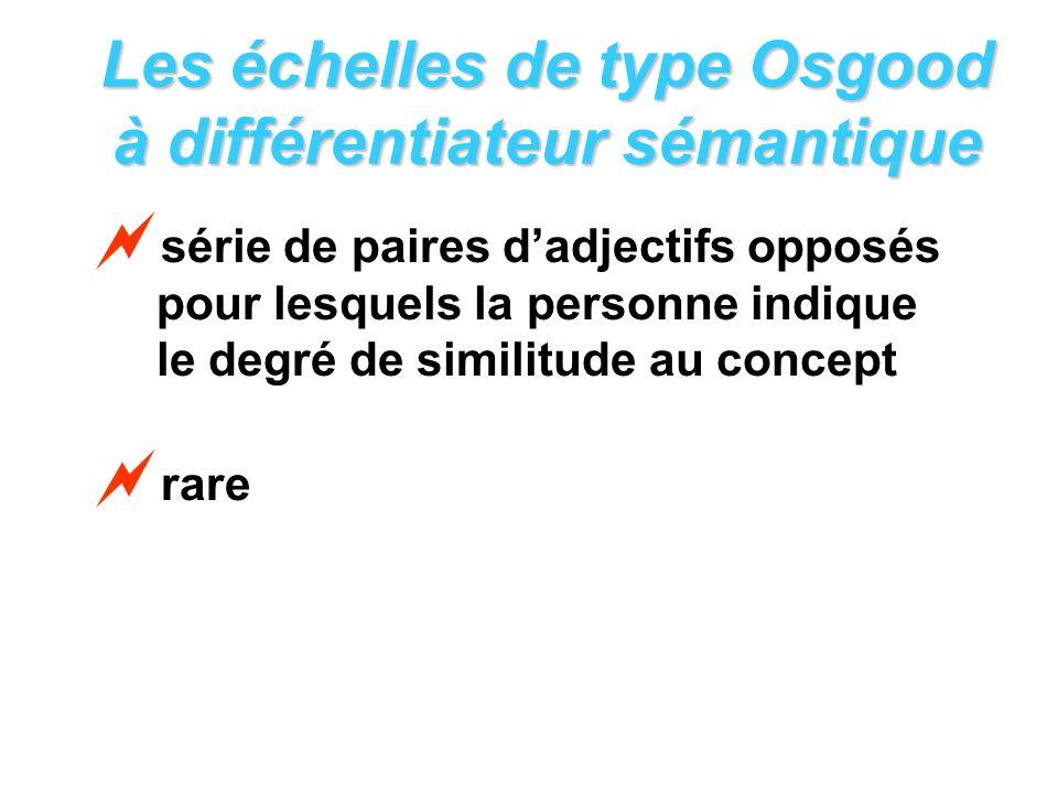 Les échelles de type Osgood à différentiateur sémantique série de paires dadjectifs opposés pour lesquels la personne indique le degré de similitude a