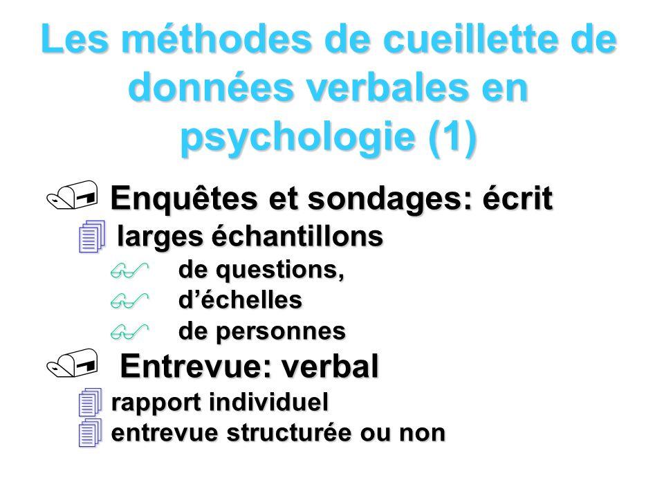 Les méthodes de cueillette de données verbales en psychologie (1) Enquêtes et sondages: écrit / Enquêtes et sondages: écrit larges échantillons larges