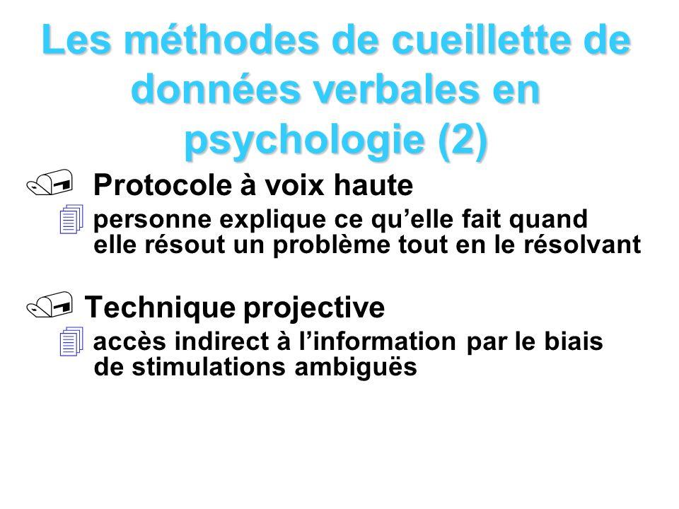 Les méthodes de cueillette de données verbales en psychologie (2) / Protocole à voix haute personne explique ce quelle fait quand elle résout un probl
