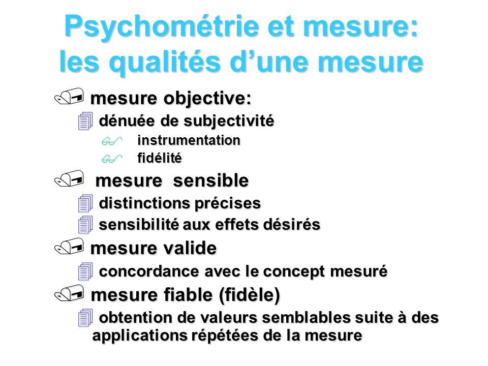 Psychométrie et mesure: les qualités dune mesure mesure objective: dénuée de subjectivité dénuée de subjectivité instrumentation instrumentation fidél