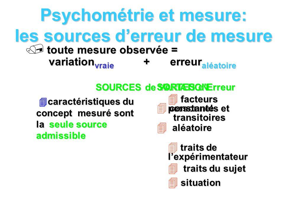 Psychométrie et mesure: les sources derreur de mesure toute mesure observée = variation vraie + erreur aléatoire SOURCES de VARIATION caractéristiques
