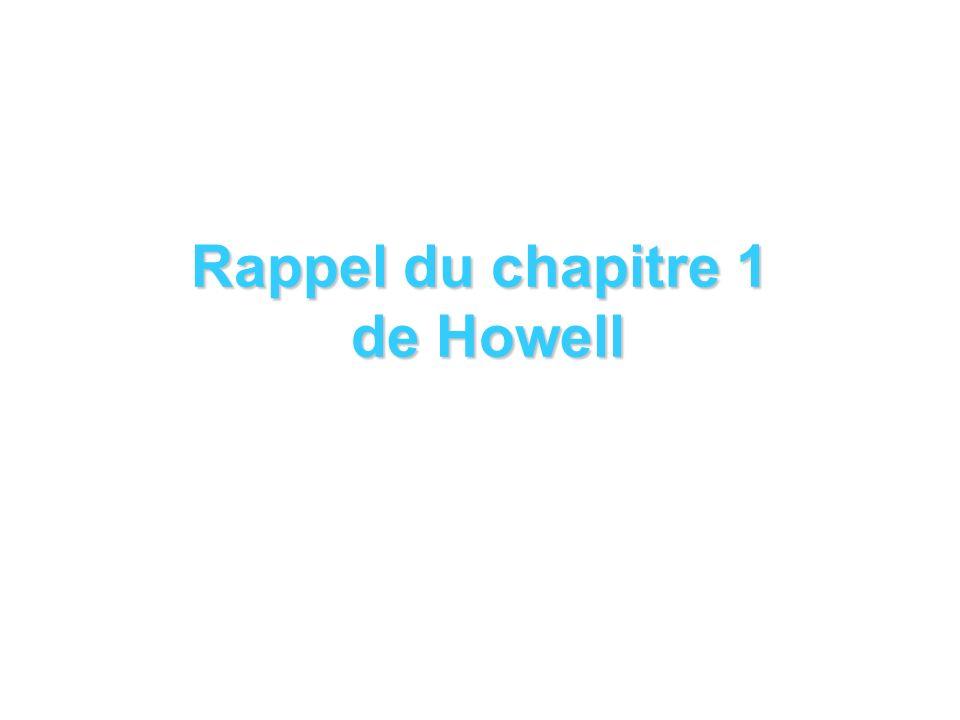 Rappel du chapitre 1 de Howell