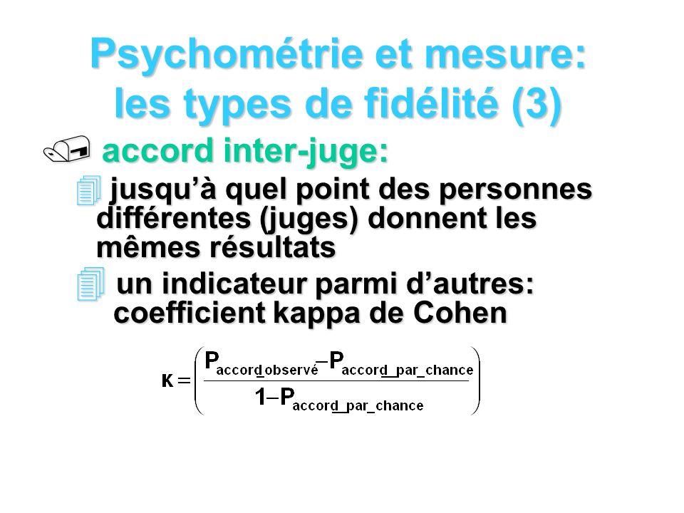 Psychométrie et mesure: les types de fidélité (3) / accord inter-juge: 4 jusquà quel point des personnes différentes (juges) donnent les mêmes résultats 4 un indicateur parmi dautres: coefficient kappa de Cohen