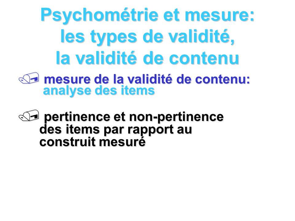 Psychométrie et mesure: les types de validité, la validité de contenu mesure de la validité de contenu: analyse des items mesure de la validité de con