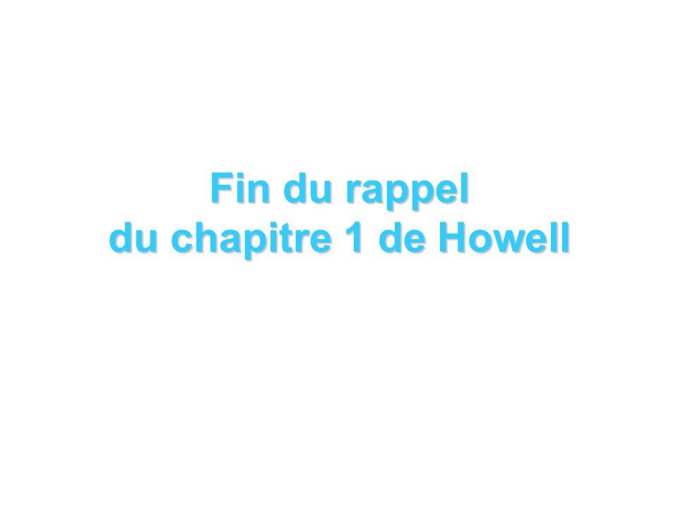 Fin du rappel du chapitre 1 de Howell