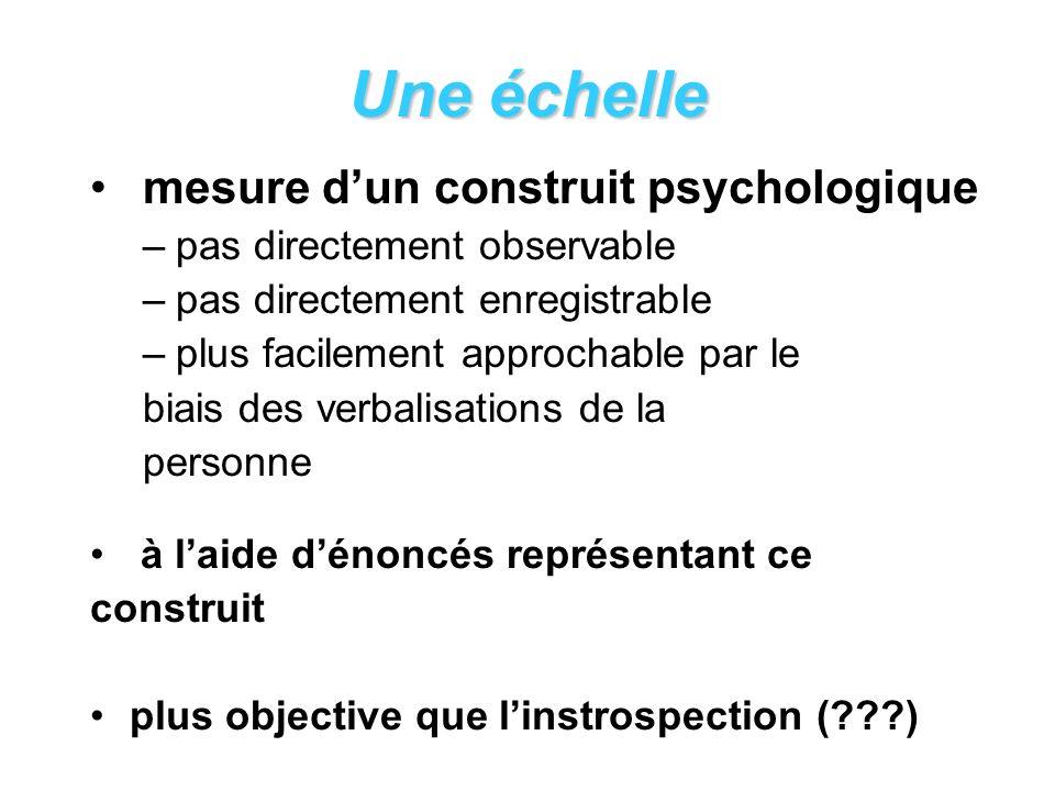 Une échelle mesure dun construit psychologique –pas directement observable –pas directement enregistrable –plus facilement approchable par le biais des verbalisations de la personne à laide dénoncés représentant ce construit plus objective que linstrospection (???)