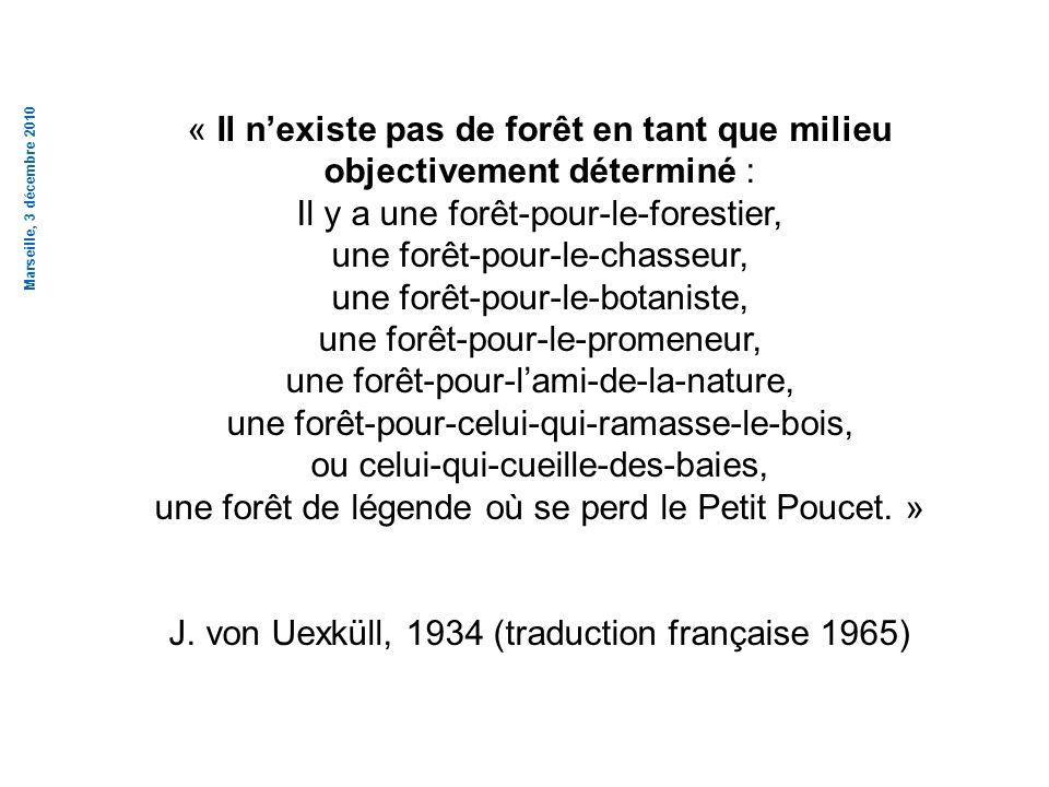 Marseille, 3 décembre 2010 « Il nexiste pas de forêt en tant que milieu objectivement déterminé : Il y a une forêt-pour-le-forestier, une forêt-pour-l