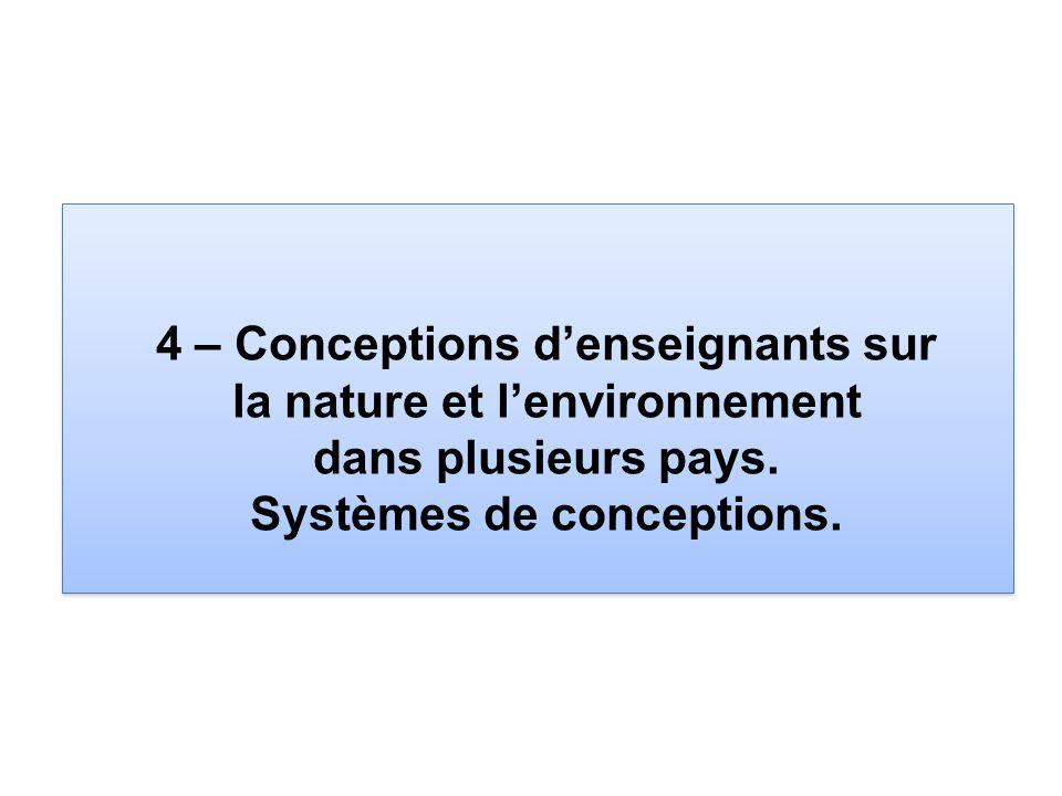 4 – Conceptions denseignants sur la nature et lenvironnement dans plusieurs pays. Systèmes de conceptions.