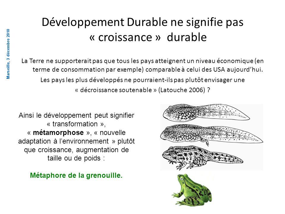 Développement Durable ne signifie pas « croissance » durable La Terre ne supporterait pas que tous les pays atteignent un niveau économique (en terme