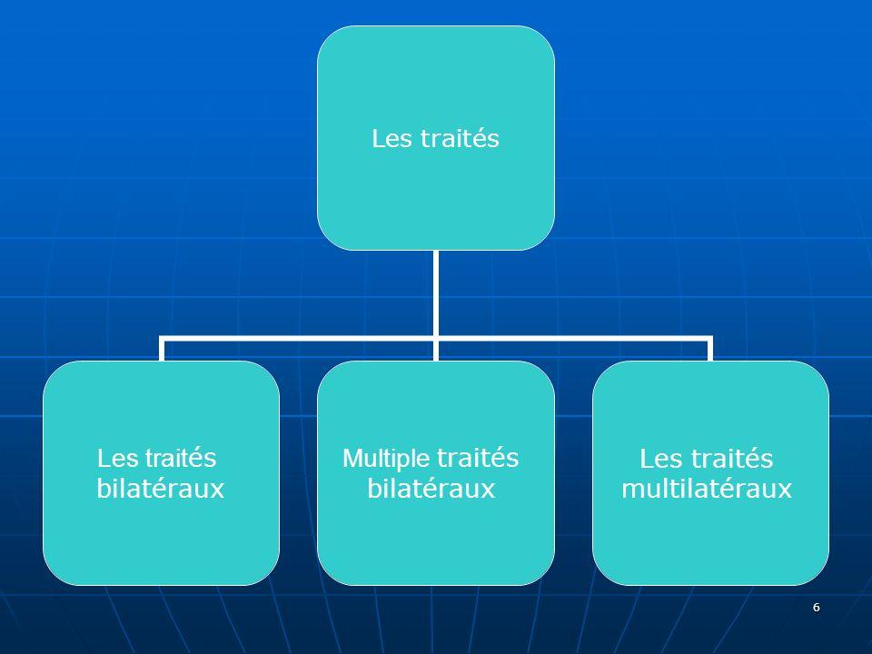 6 Les traités bilatéraux Multiple traités bilatéraux Les traités multilatéraux