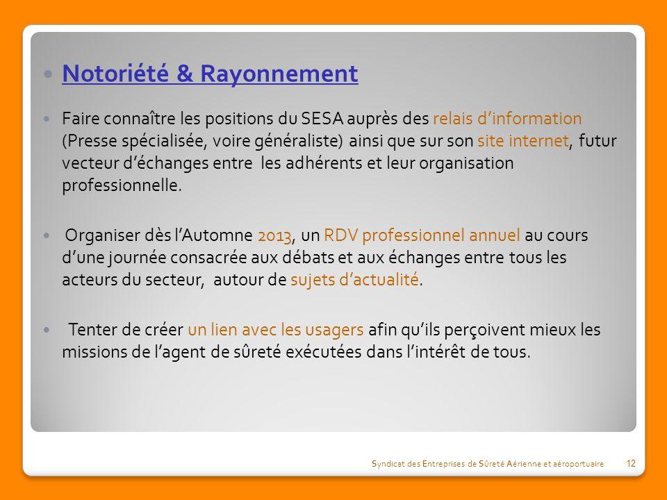 Notoriété & Rayonnement Faire connaître les positions du SESA auprès des relais dinformation (Presse spécialisée, voire généraliste) ainsi que sur son site internet, futur vecteur déchanges entre les adhérents et leur organisation professionnelle.