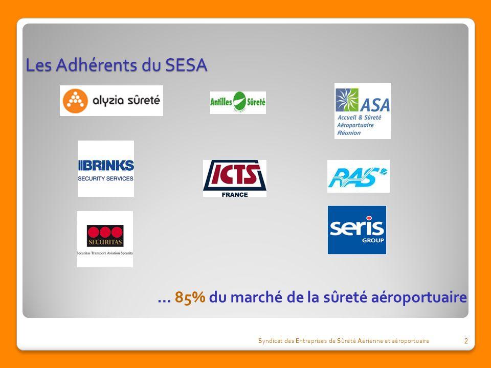 Les Adhérents du SESA Syndicat des Entreprises de Sûreté Aérienne et aéroportuaire 2 … 85% du marché de la sûreté aéroportuaire