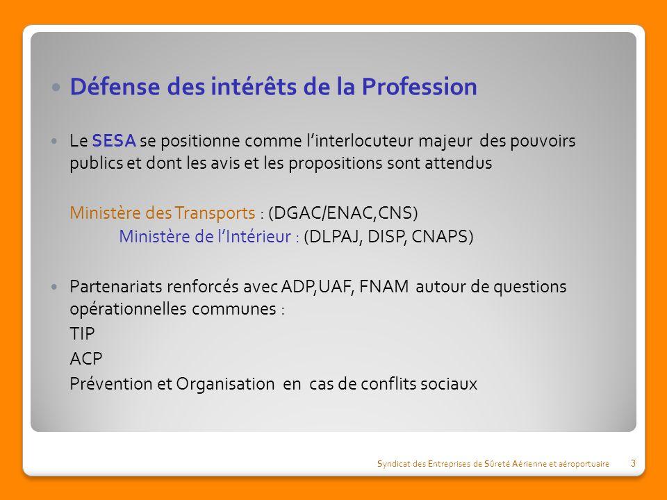 Défense des intérêts de la Profession Le SESA se positionne comme linterlocuteur majeur des pouvoirs publics et dont les avis et les propositions sont