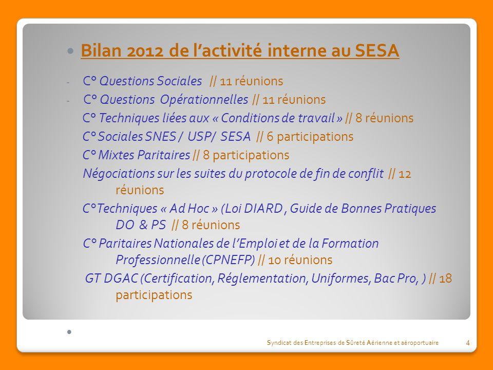Bilan 2012 de lactivité interne au SESA - C° Questions Sociales // 11 réunions - C° Questions Opérationnelles // 11 réunions C° Techniques liées aux «