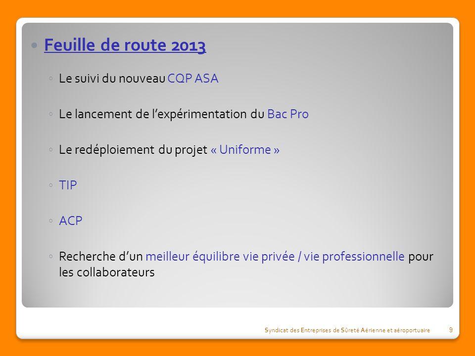 Feuille de route 2013 Le suivi du nouveau CQP ASA Le lancement de lexpérimentation du Bac Pro Le redéploiement du projet « Uniforme » TIP ACP Recherch