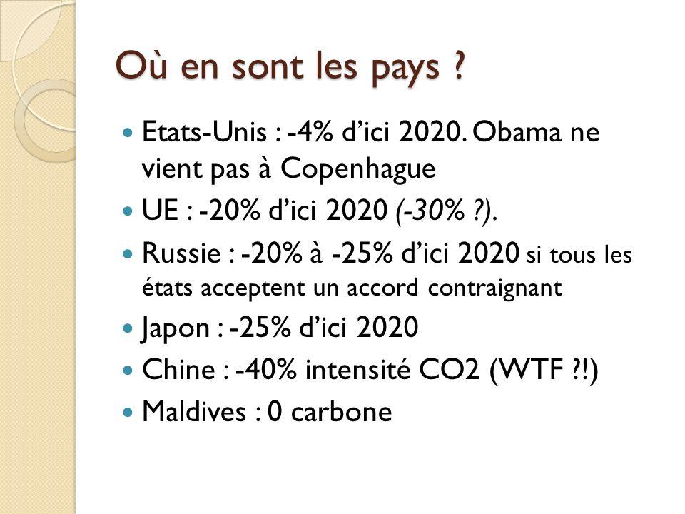Où en sont les pays ? Etats-Unis : -4% dici 2020. Obama ne vient pas à Copenhague UE : -20% dici 2020 (-30% ?). Russie : -20% à -25% dici 2020 si tous