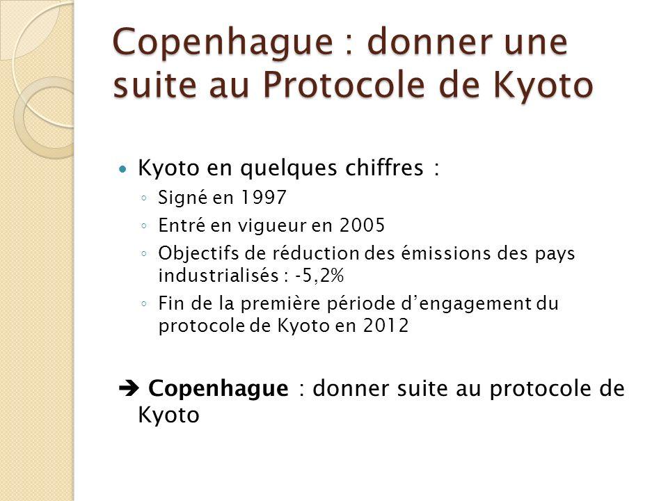 Copenhague : donner une suite au Protocole de Kyoto Kyoto en quelques chiffres : Signé en 1997 Entré en vigueur en 2005 Objectifs de réduction des émi