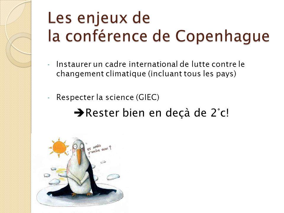 Les enjeux de la conférence de Copenhague - Instaurer un cadre international de lutte contre le changement climatique (incluant tous les pays) - Respe