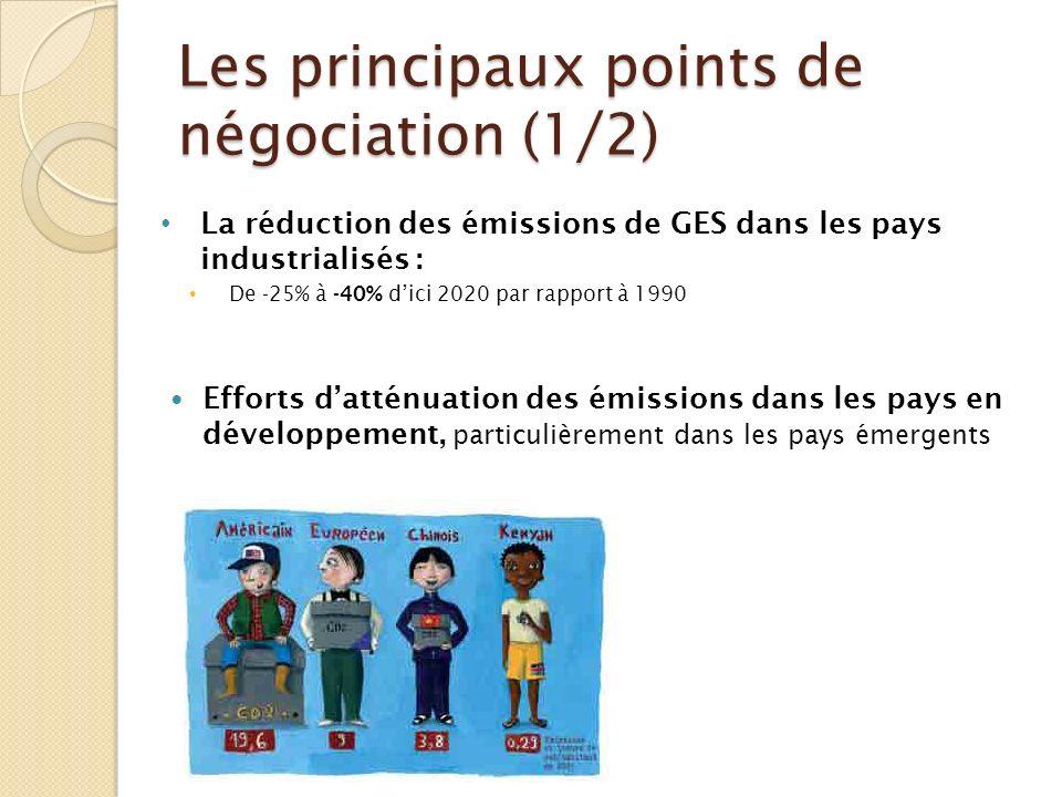 Les principaux points de négociation (1/2) La réduction des émissions de GES dans les pays industrialisés : De -25% à -40% dici 2020 par rapport à 199