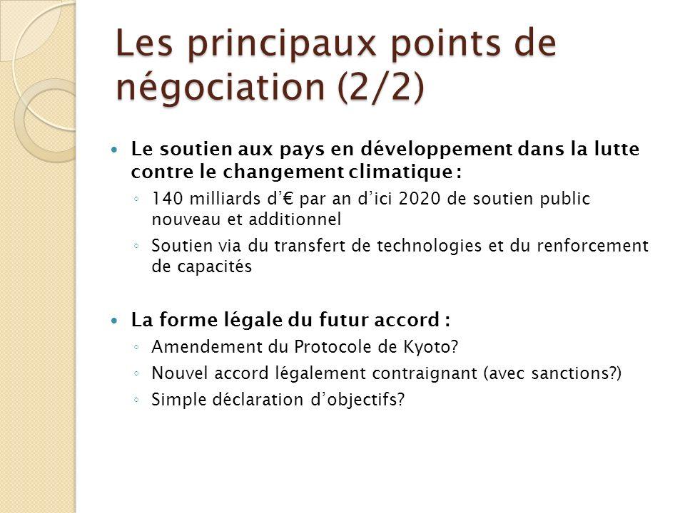 Les principaux points de négociation (2/2) Le soutien aux pays en développement dans la lutte contre le changement climatique : 140 milliards d par an